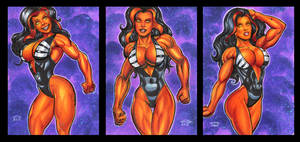 RED SHE-HULK PERSONAL SKETCH CARDS by AHochrein2010