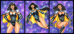 SUPERWOMAN of EARTH 3 PERSONAL SKETCH CARDS by AHochrein2010