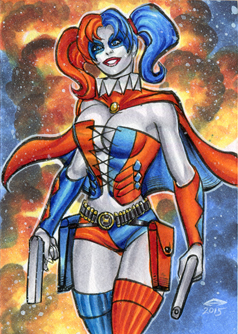 HARLEY QUINN SS PERSONAL SKETCH CARD 9/2015A by AHochrein2010