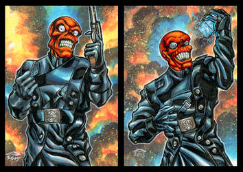RED SKULL PERSONAL SKETCH CARDS by AHochrein2010