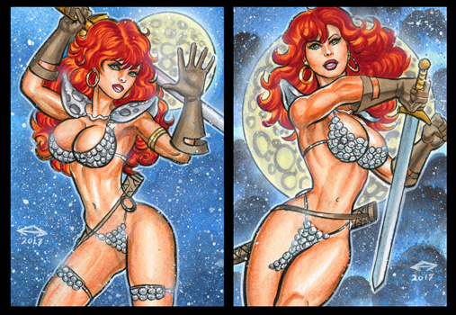 RED SONJA PERSONAL SKETCH CARDS JANUARY 2017 by AHochrein2010