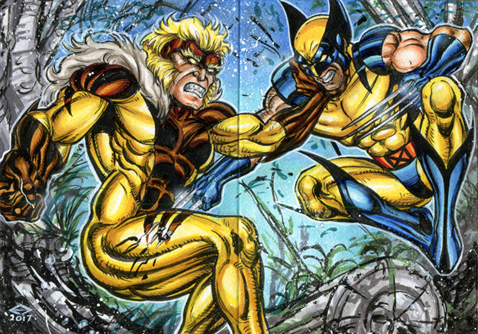 WOLVERINE VS SABRETOOTH SKETCH CARD PUZZLE by AHochrein2010
