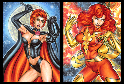 BLACK QUEEN_ DARK PHOENIX PERSONAL SKETCH CARDS by AHochrein2010