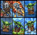 Li'l Mando Chibi Sketch Cards December 2020 by AHochrein2010