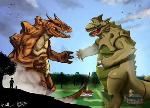 Pokemon Fusion Collab Art - Charking vs Goldon