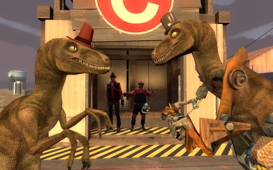 Rappy el Velociraptor (Tf2) Rappy_vs__metal_rappy_by_fezwearingdoctor-d4r4ahv