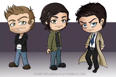 Dean, Sam, and Cas by Starforsaken101