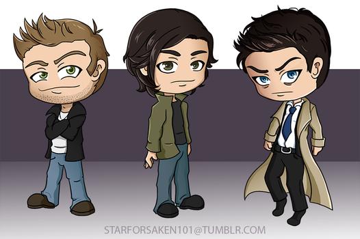 Dean, Sam, and Cas