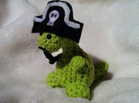 A sad pirate dinosaur