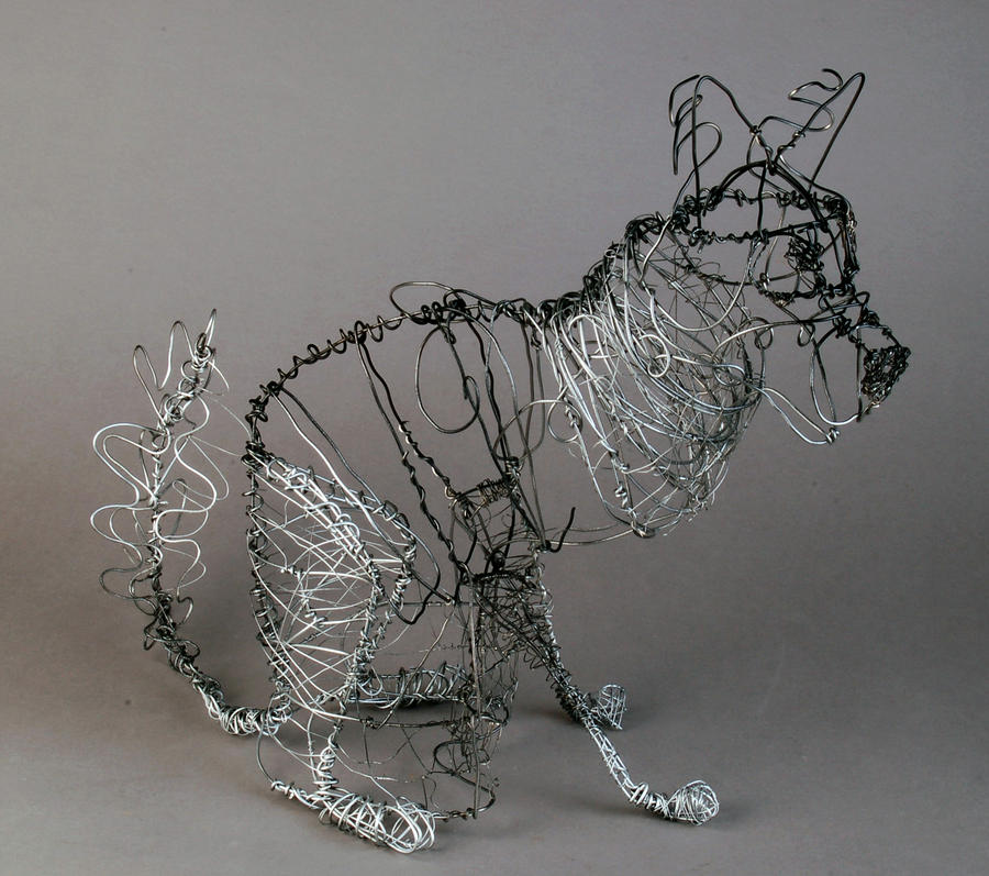 Wire dog sculpture by anointedlight7 on deviantart for Dog wire art