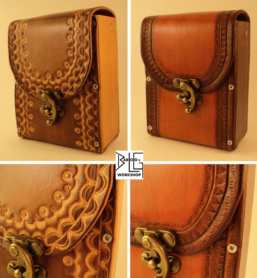 Leather and wood belt packs by barlogg