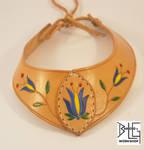 Leather necklace with Polish folk design.