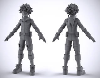 Izuku Midoriya (Deku) - WIP 4 (Clay Render) by DeathMetalDan