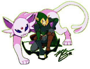 [Commission] Hunter and Espeon by XTP597