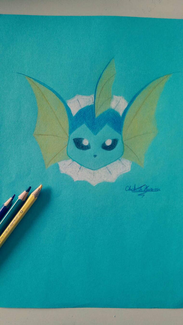 Vaporeon: realised on coloured paper with crayons by KuteCat04