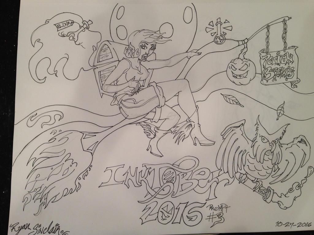 Vagabond Witch Inktober Promt Drawing 2016 by NirvanaCrux
