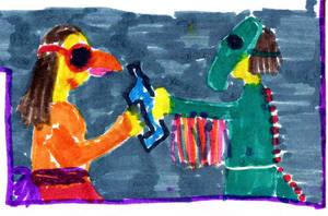 Nasze przedstawienie - papuga i smok by Kejti2002