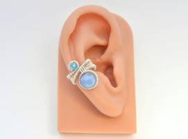 Silver Ear Cuff-Wire Drop Bead in Blue by BlackBlossomJewelry