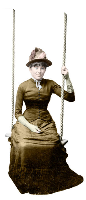 Victorian lady on a swing