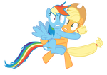 Scared Applejack and Rainbow Dash