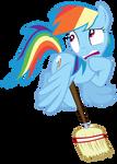 Rainbow Dash with a broom