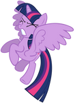 Twilight flaps her wings to stop falling