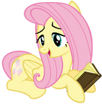 Fluttershy Reading a book