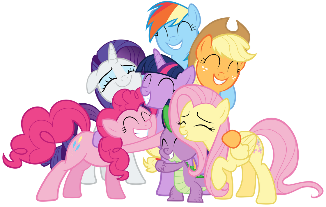 Mane Six And Spike Group Hug By Tardifice On DeviantArt