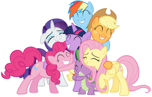 Mane Six and Spike group hug by Tardifice