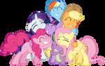 Mane Six and Spike group hug