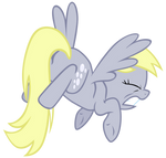 Derpy crashes into a wooden sign