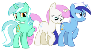 Lyra, Twinkleshine and Minuette by Tardifice