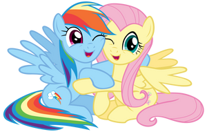 Rainbow Dash and Fluttershy hugging by Tardifice