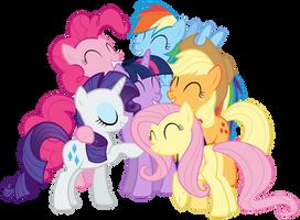 Mane Six group hug in Twilight's mind by Tardifice