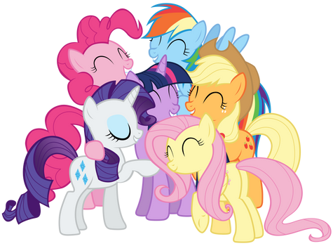 Mane Six group hug in Twilight's mind