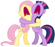 Twilight and Fluttershy screaming in terror