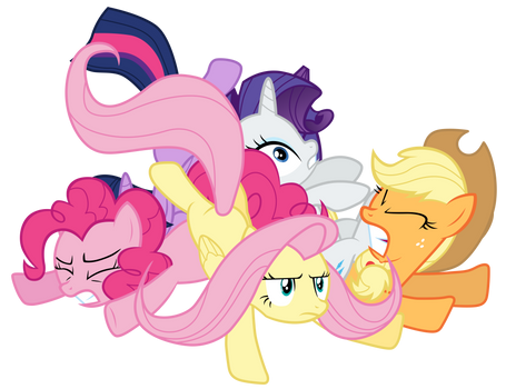 Twilight and friends in a pony pile