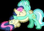 Lyra Heartstrings and Bon Bon hugging