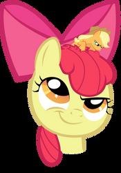 Tiny Applejack in Apple Bloom's Head