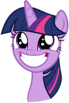 Twilight grinning widely at Celestia