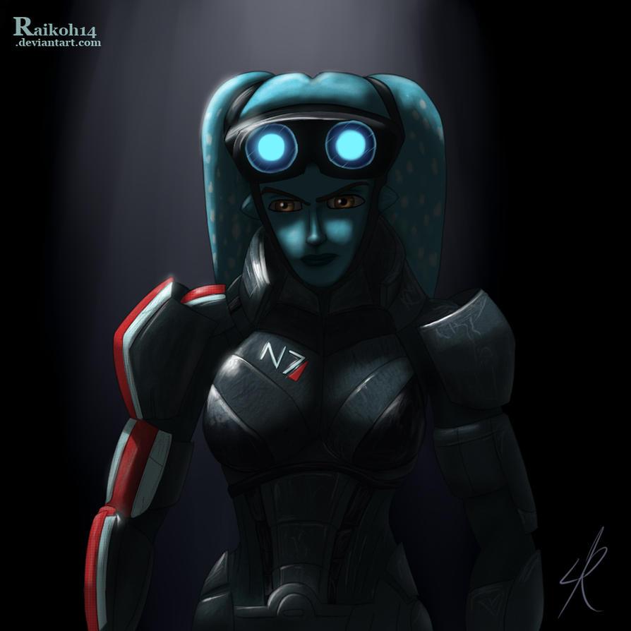 Aayla as Commander Shepard by Raikoh-illust