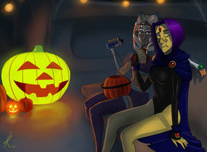 Enjoying the Halloween treats