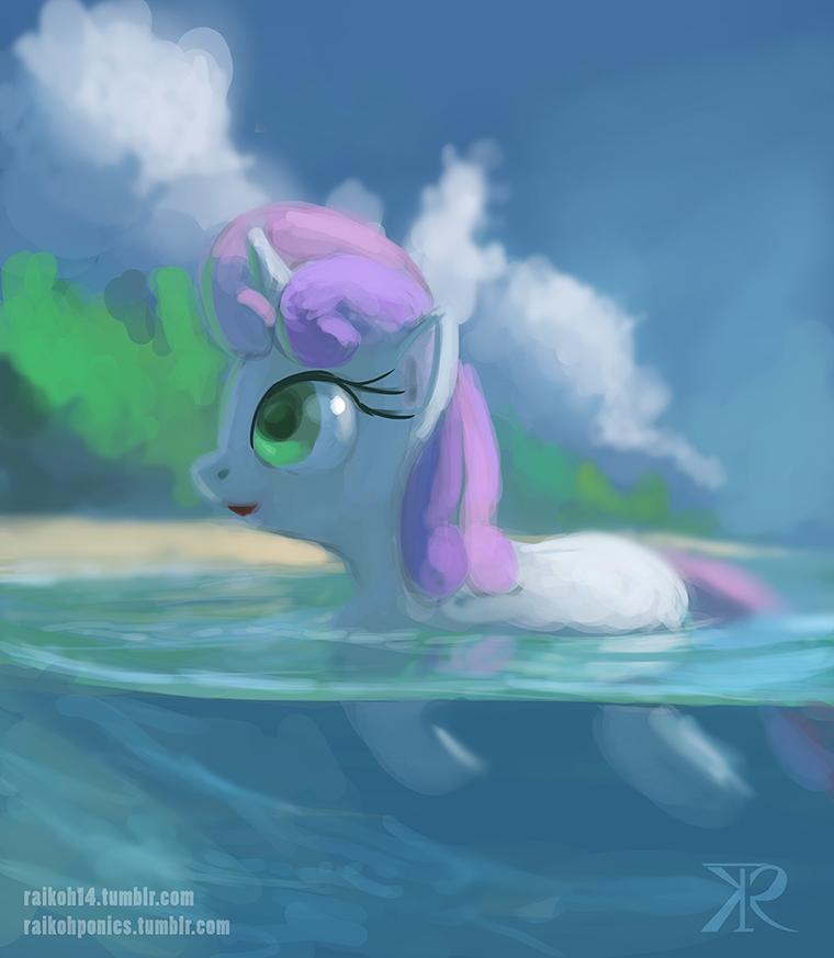 Sweetie Belle on the beach by Raikoh-illust