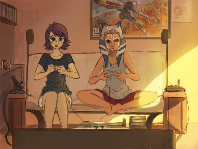 Ahsoka and Barriss gaming time