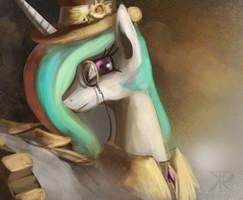 Steampunk Celestia by RaikohIllust