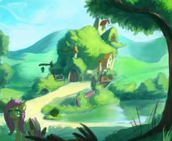 Fluttershy's home by RaikohIllust