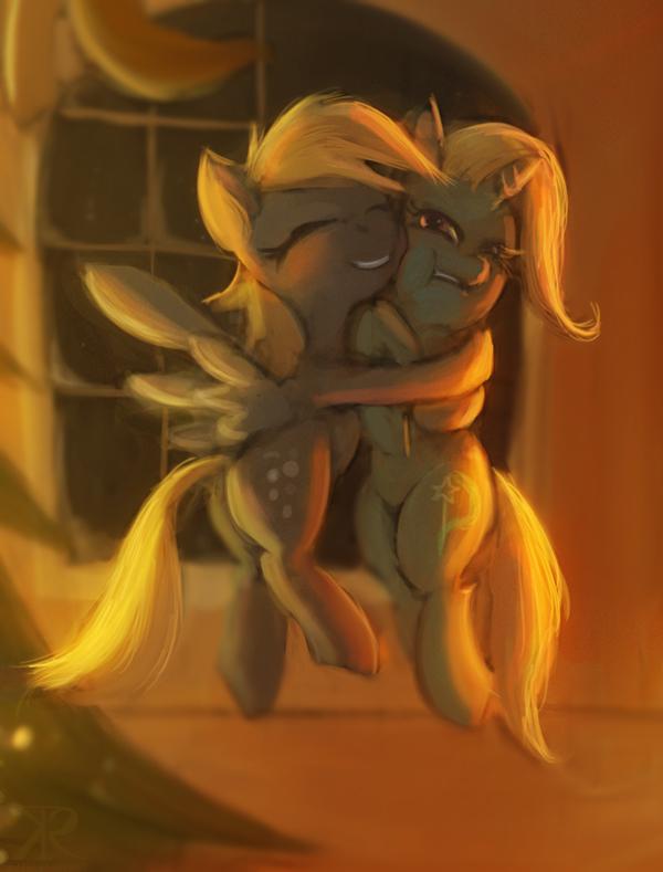 Derpy hugs Trixie by Raikoh-illust