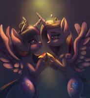 Twilight Sparkle and Cadence by RaikohIllust
