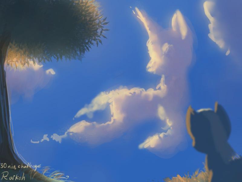 cloud looks like a unicorn by Raikoh-illust