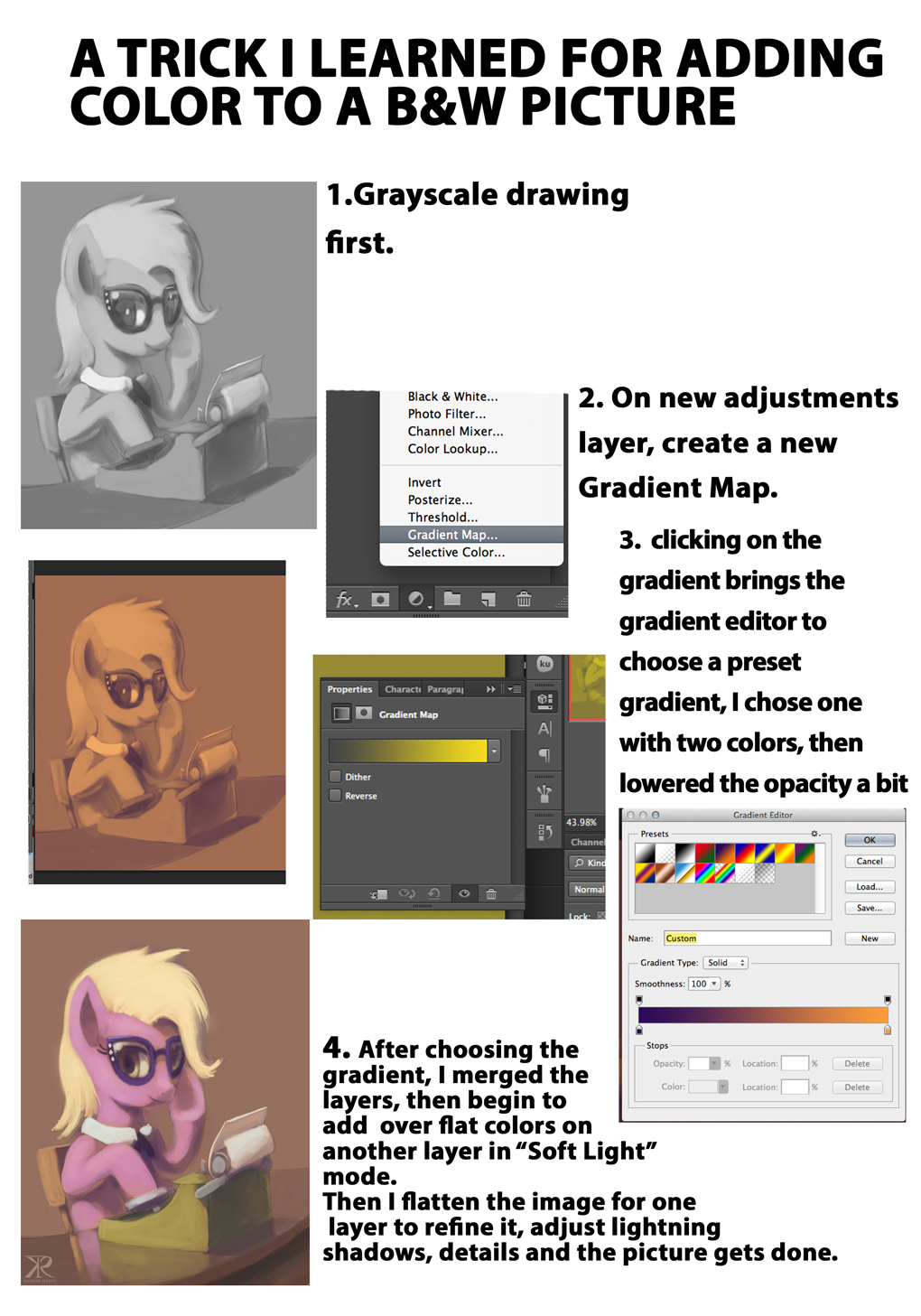 Greyscale to color mini tutorial by Raikoh-illust